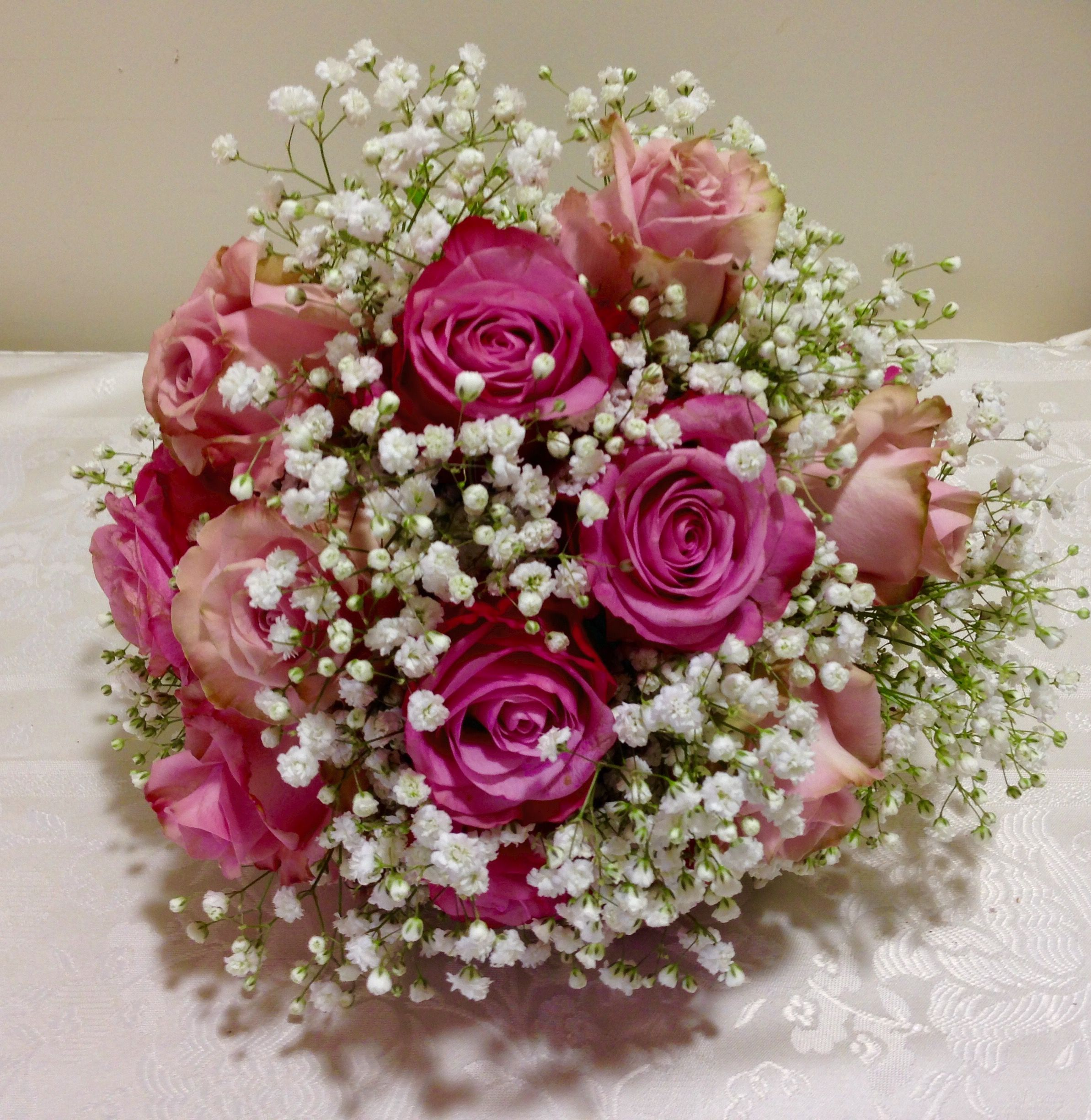Shades Of Dusky Pink Roses In A Nest Of Gypsy For This Brides