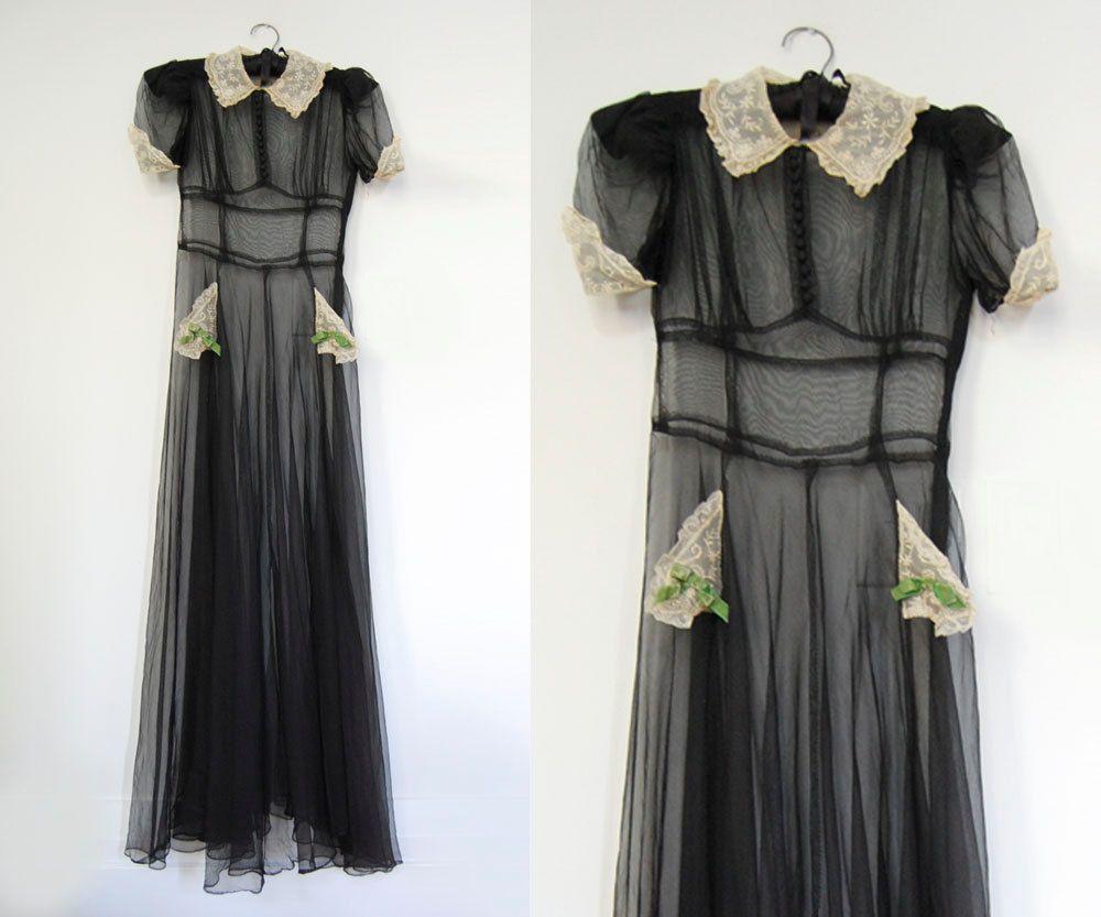V i n t a g e art deco nuit noire gown via etsy