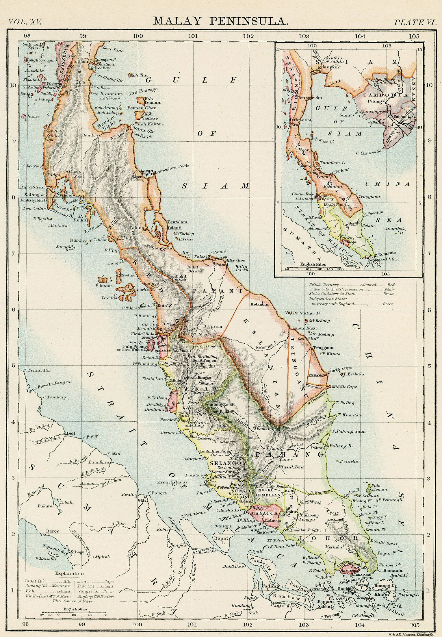 This Art Print Features An 1889 Map Of The Malay Peninsula Including The States Of Malaya Malaysia And Singapore Major Vintage Art Prints Art Vintage Maps