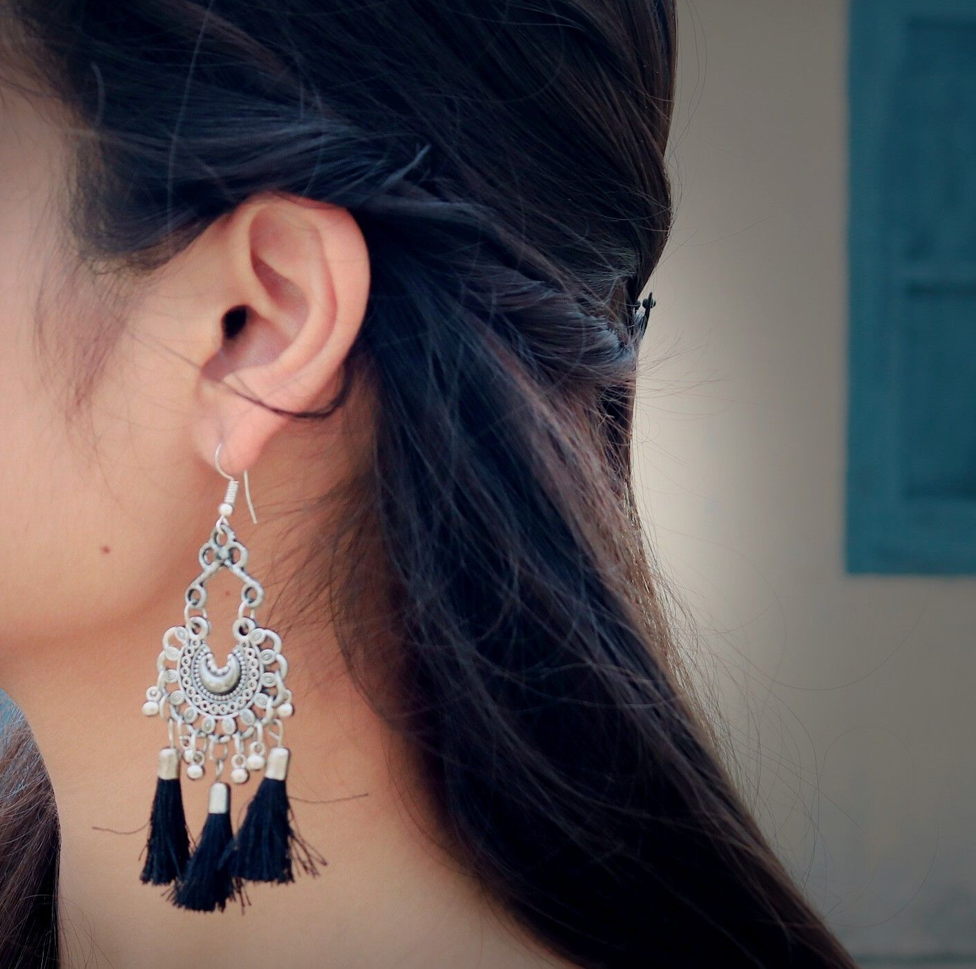Tassel Designed Black Silver Earring Mychoice Fancy Jewellery Cute Jewelry Silver Jewelry Fashion Today i share with you the best whatsapp/facebook dpz idea with earrings /best hidden face poses/photoshoot/photography idea for girls. cute jewelry silver jewelry fashion