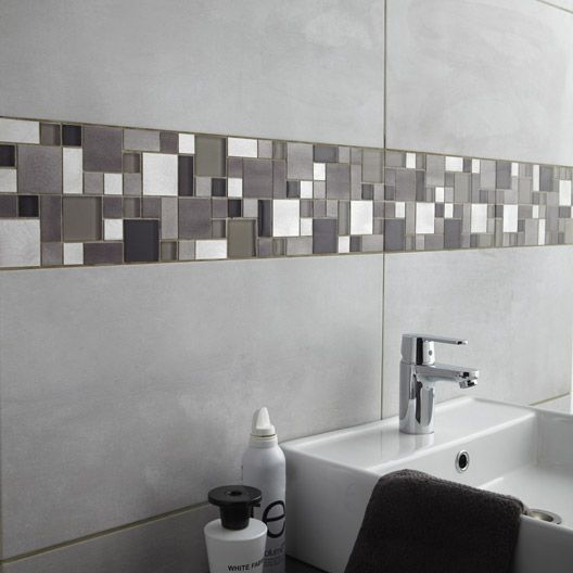 Carrelage mural denver premium en fa ence gris clair 30 for Faience rectangulaire salle bain