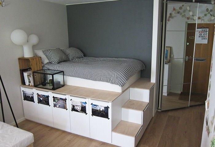 Lit Ikea Diy Pour Stockage Plateforme Amenagement Chambre