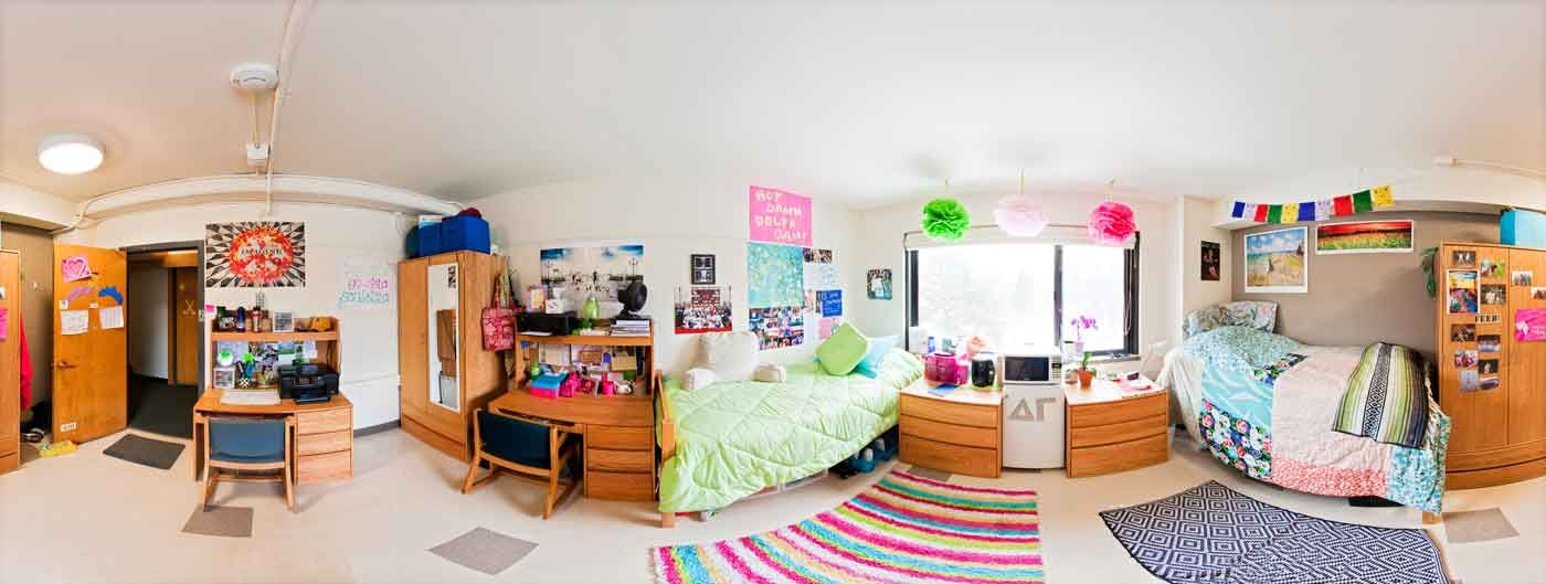 Panoramic Photo Of A Dorm Room In Susan B Anthony Hall