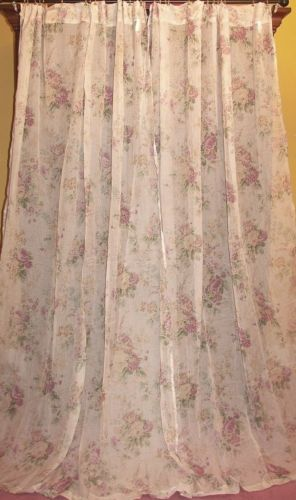 Vintage-Laura-Ashley-French-Country-Shabby-Floral-Chic-Victorian-Drapes-Curtains