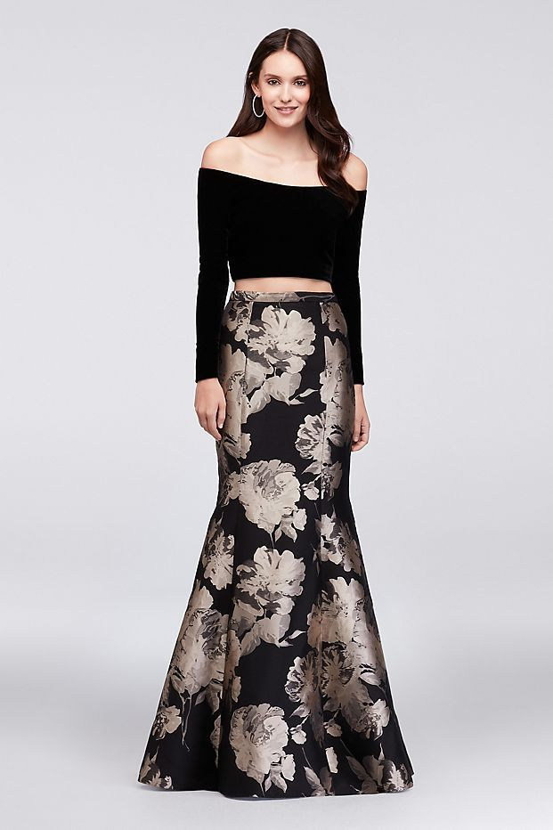 89bd795f3 Velvet Crop Top and Brocade Mermaid Skirt Set   David's Bridal ...