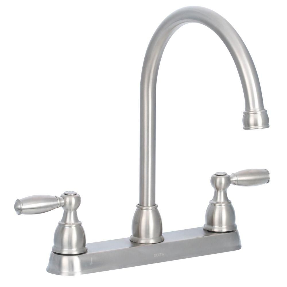 Delta Foundations 2 Handle Standard Kitchen Faucet In Stainless 21987LF SS    The Home Depot