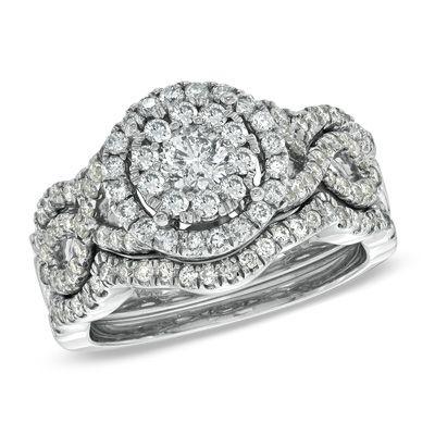 115 CT TW Diamond Cluster Bridal Set in 14K White Gold Bridal