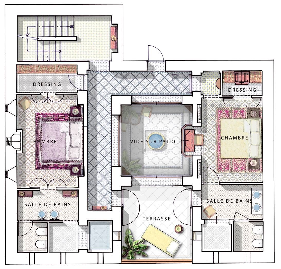Family Riad In Marrakesh Royal Mansour In 2020 Courtyard House Plans Home Design Floor Plans Castle House Plans