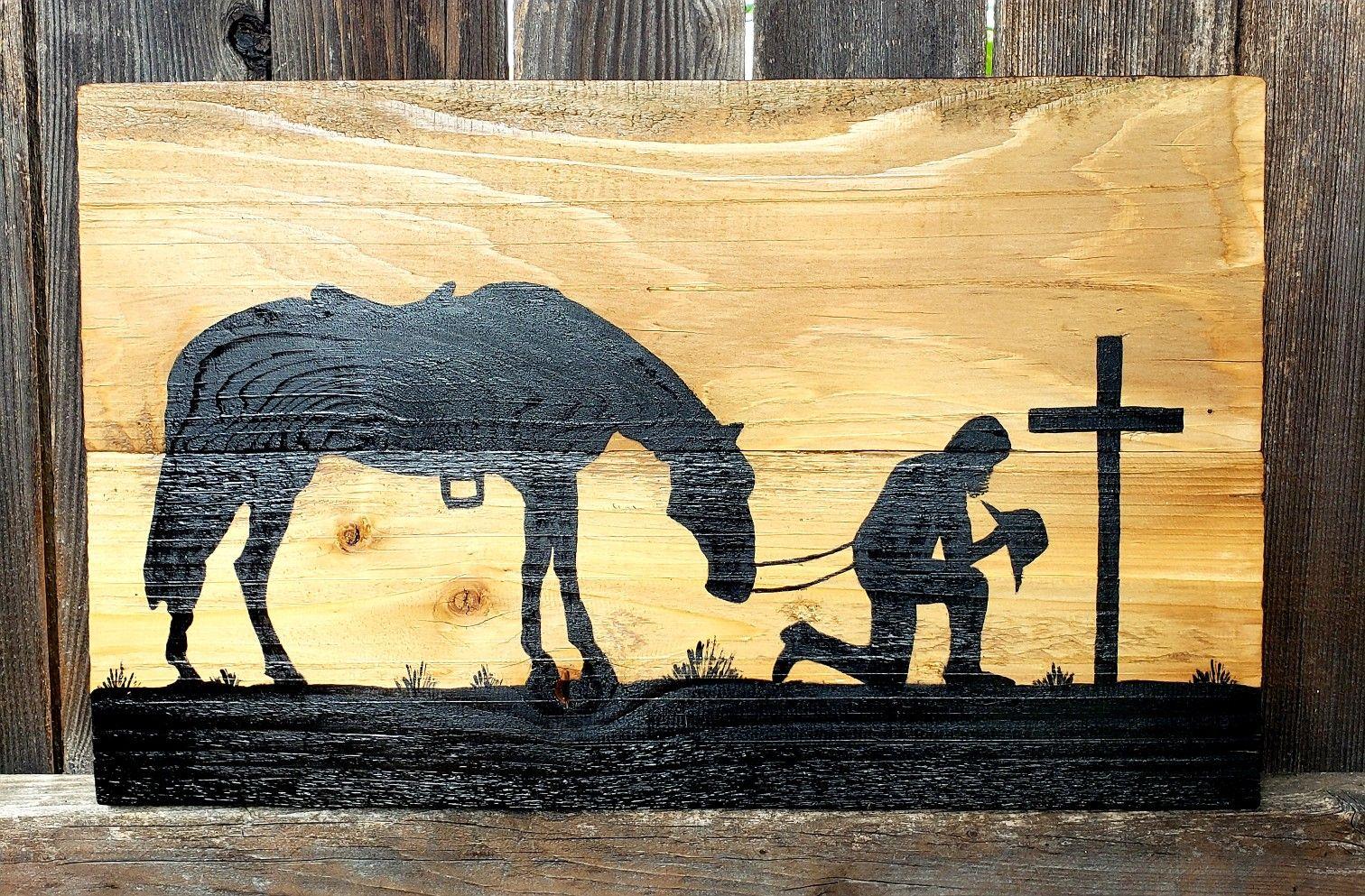 Praying Bearded Cowboy Cowboy Wall Art Art Wall Art
