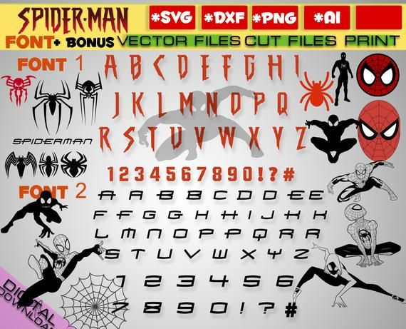 Spiderman Svg 2 Font Alphabets Svg Avengers Svg Bundle Clipart