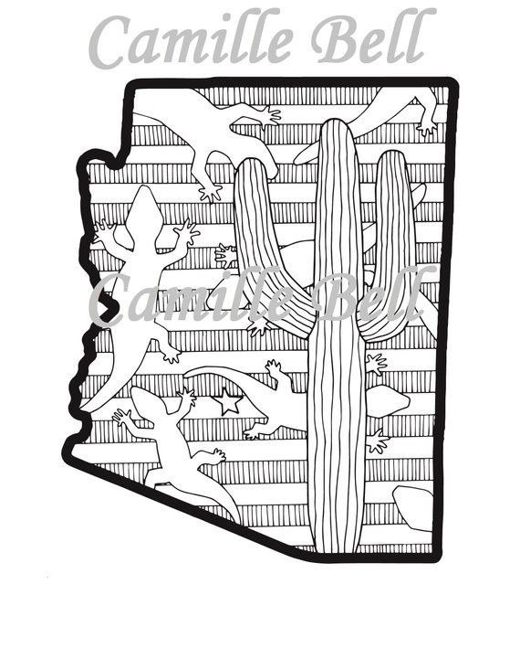 Arizona Coloring Page Adult Coloring Page Download Arizona State