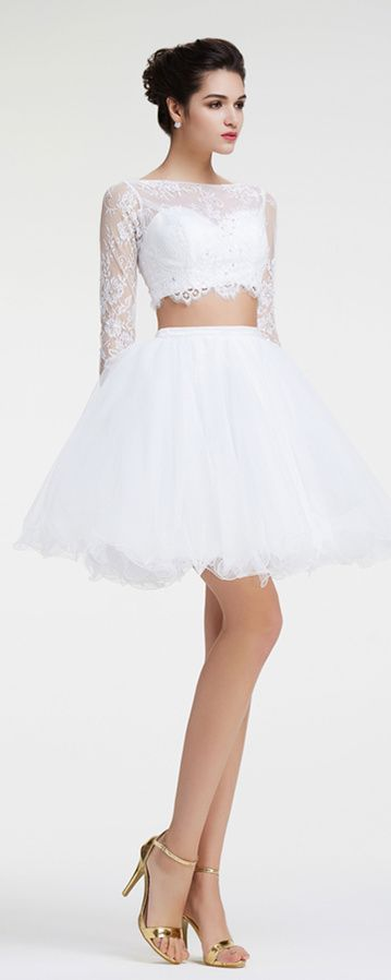 White two piece prom dresses short modest prom dresses long sleeves ...