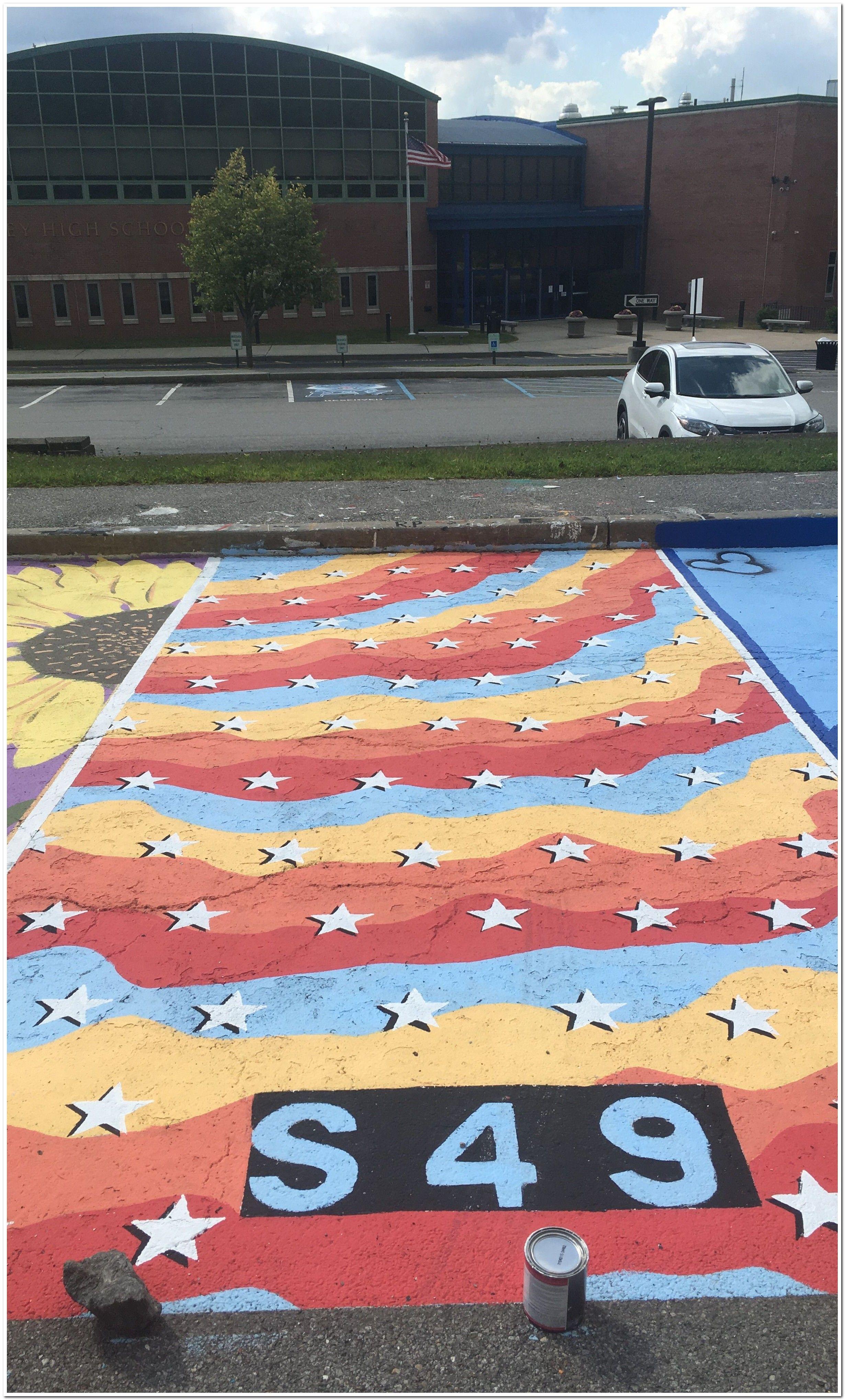 parking spot painting sillouette bher lot soph chalk senior