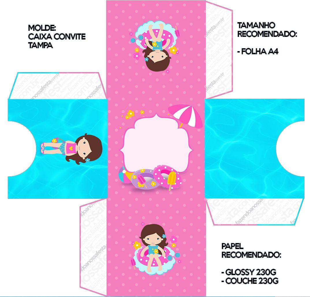 Convite Caixa Tampa Pool Party Menina   Pinterest   Crafts