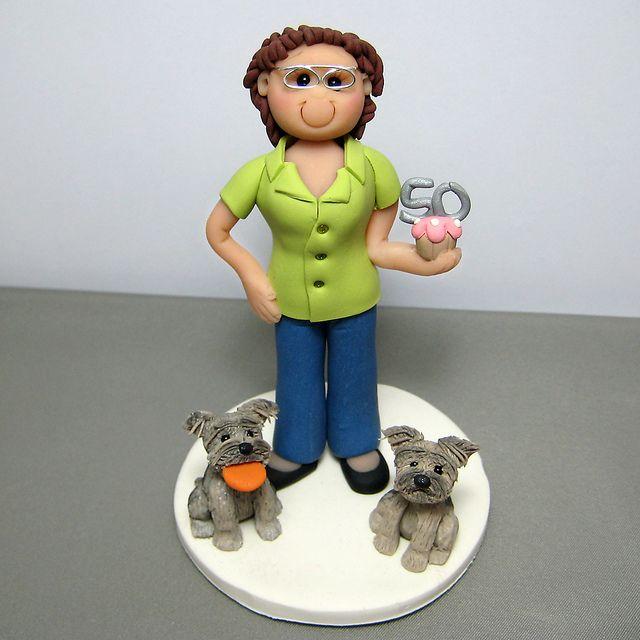 Mom's 50th Birthday polymer clay cake topper #moms50thbirthday