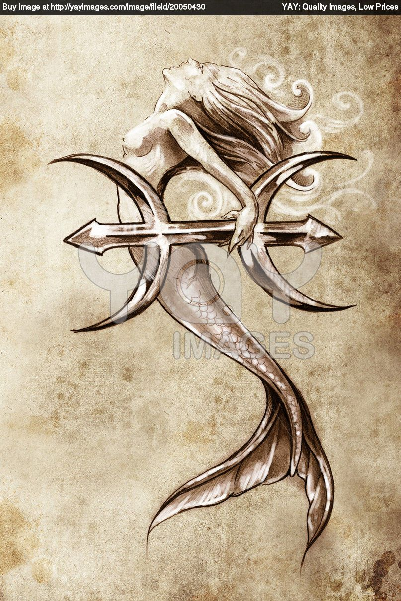 would be a cool tattoo. http://image.yaymicro.com/rz_1210x1210/1/31f/tattoo-art--sketch-of-a-mermaid--pisces-vintage-style-131f1fe.jpg