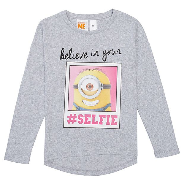 Girls  Long Sleeve Minions T-Shirt   Minions   Shirts, Long sleeve ... 54ebd4a665