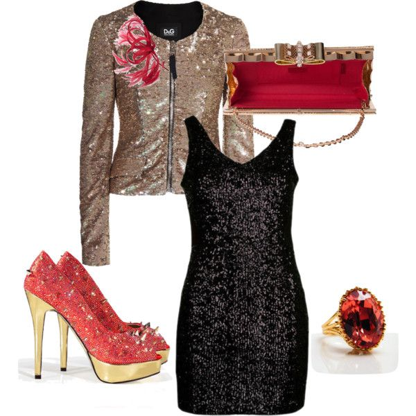 Little Black Dress with Gold Jacket &amp- Red/Gold Accessories ...