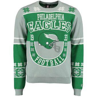 Mens Philadelphia Eagles Klew Green Retro Ugly Sweater Christmas