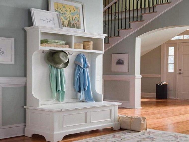 arredare casa idee ingresso mobile legno bianco idee