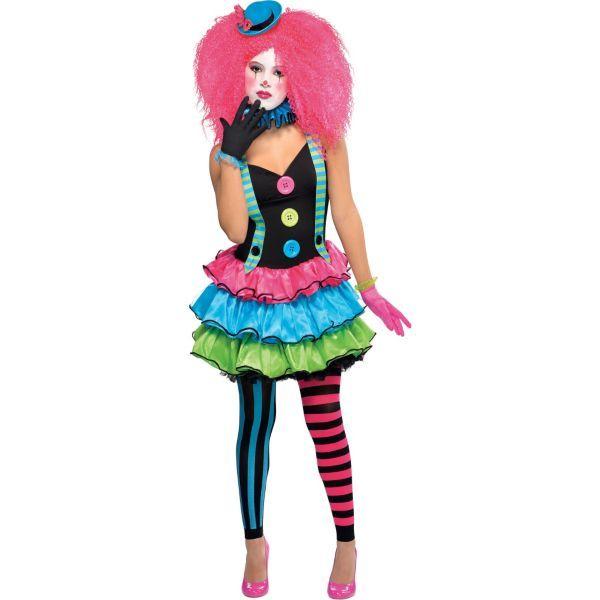 Kids Halloween Pink Killer Clown Girl Costume