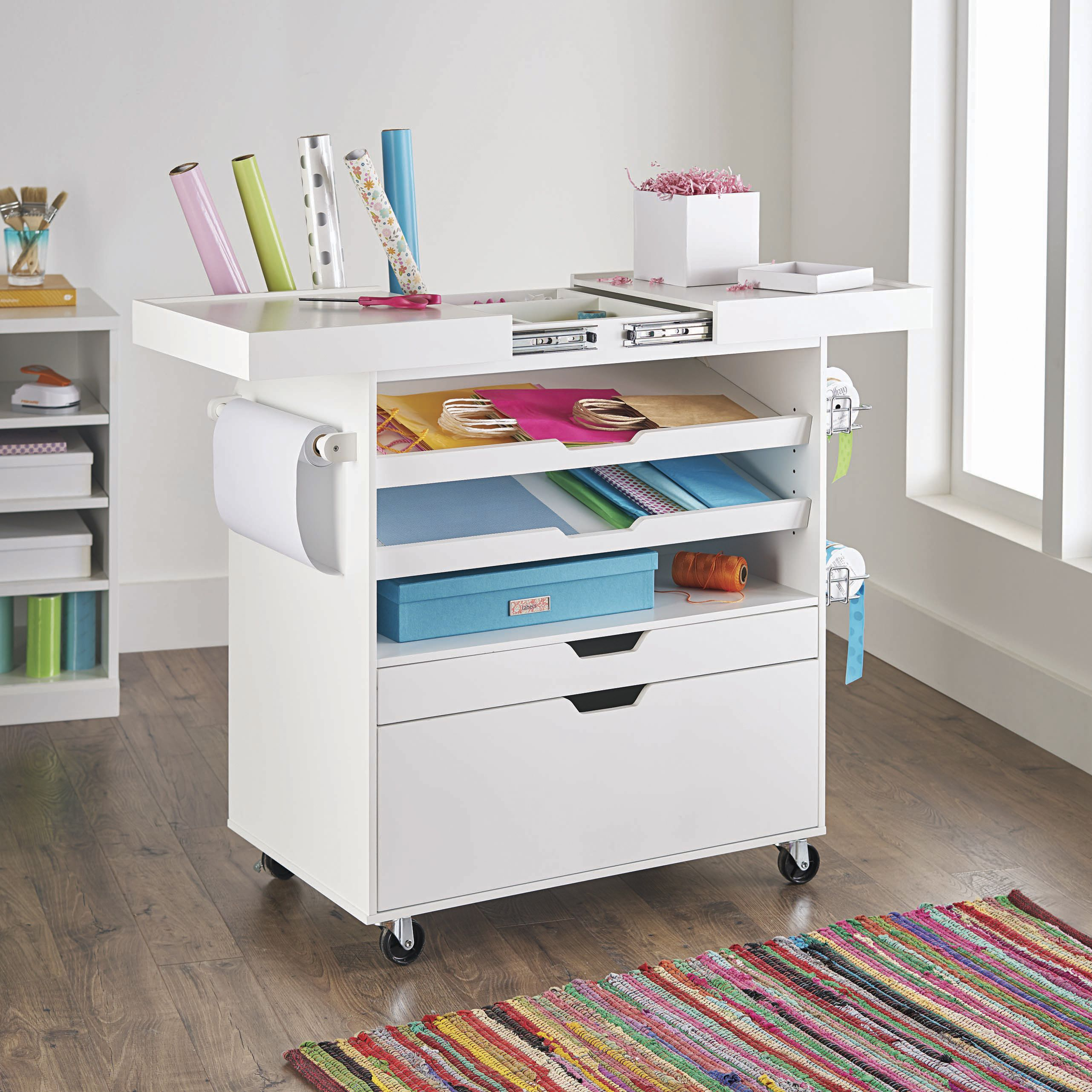 Free 2 Day Shipping Buy Better Homes Gardens Craftform Sewing And Craft Cart White Finish At Walmart Com In 2020 Craft Cart Craft Table Dream Craft Room