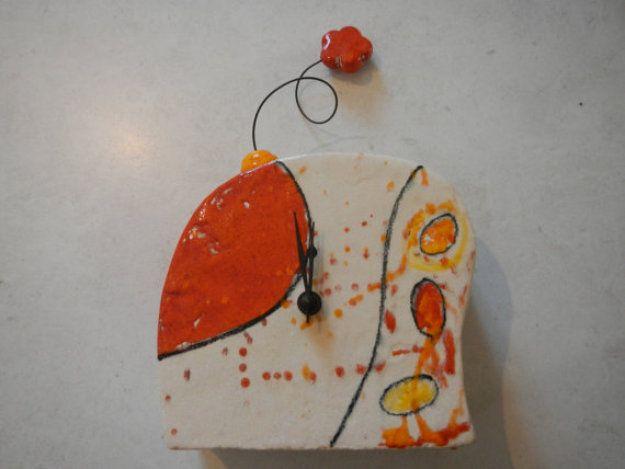 Ceramic Table Clock, Handmade, Home Deco, Colorfull Clock, Interior Design  #Artmosfair