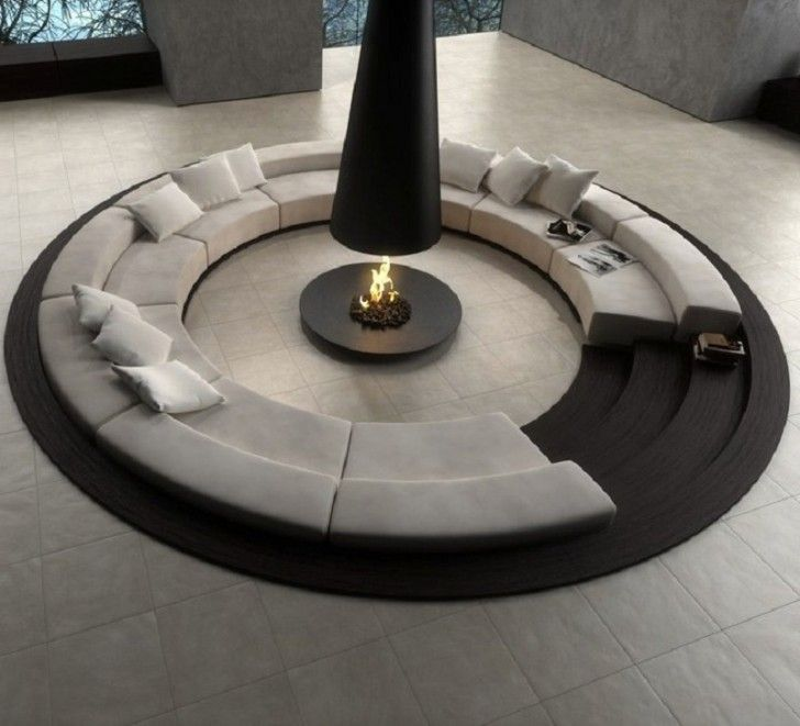Unique Round Living Room Sitting Areas With Fireplace In The Classy Circular Living Room Design Inspiration