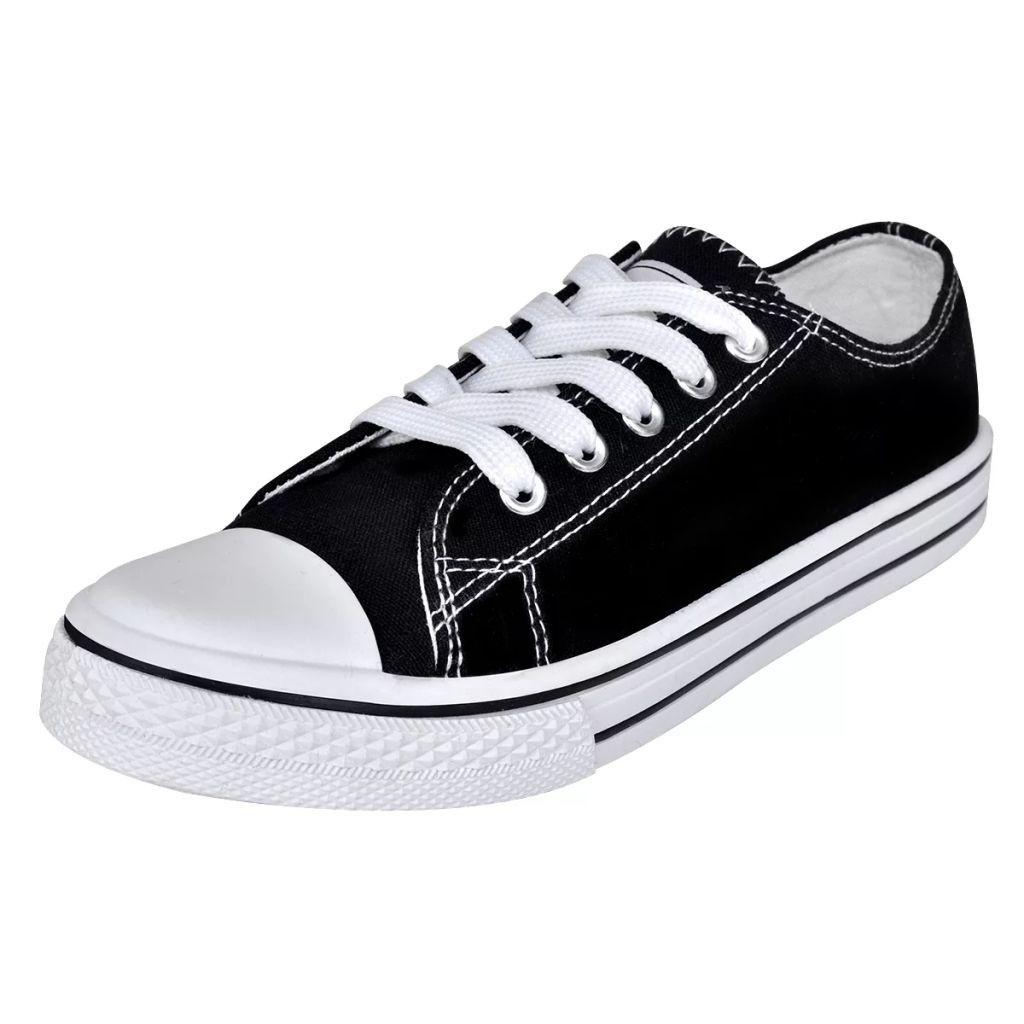 Klassiska låga sneakers med snörning för dam Svart Storlek