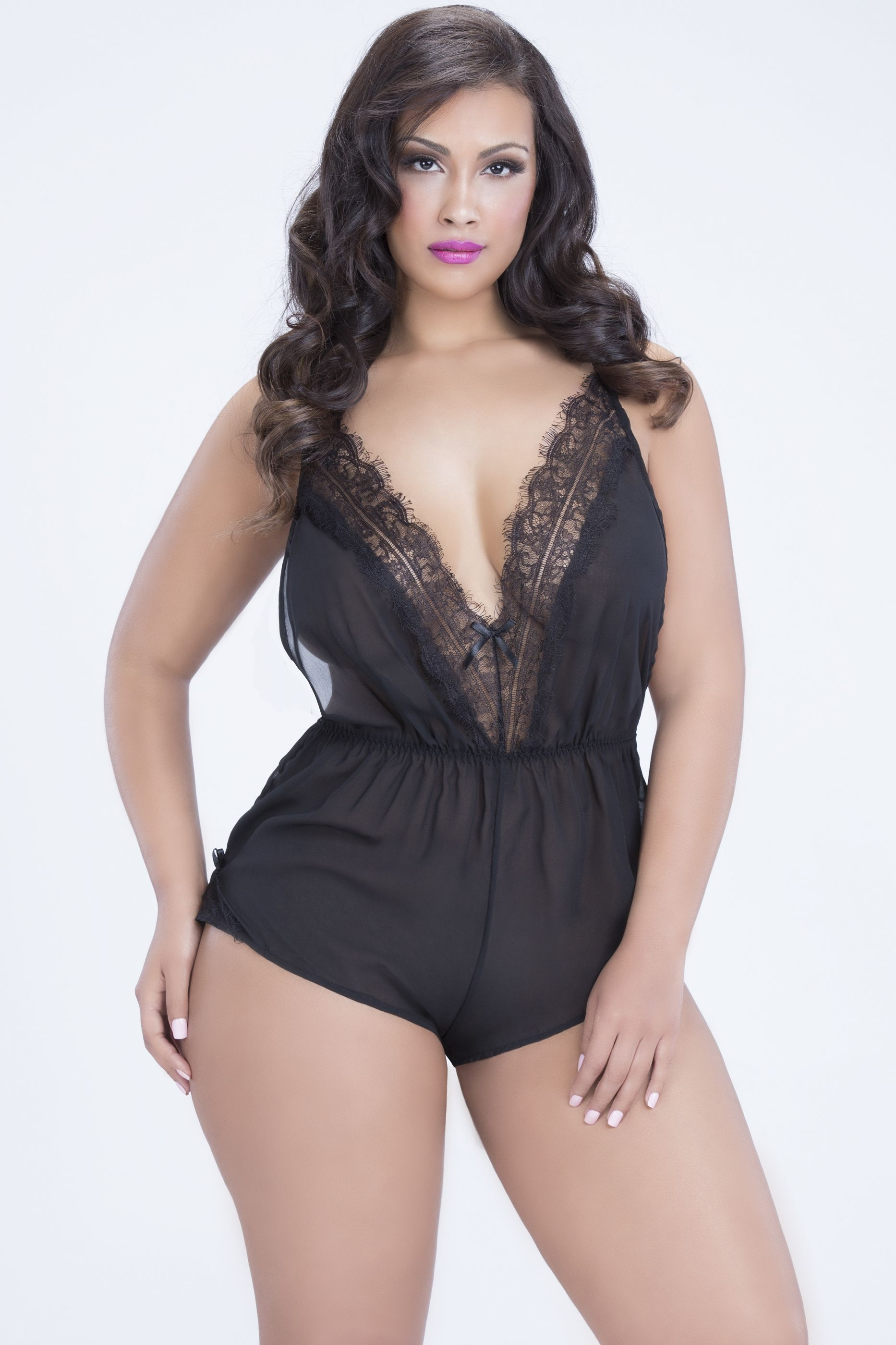 dca6018a916 In love with this lingerie piece!! Beautiful lace and chiffon romper   plussize  sexy