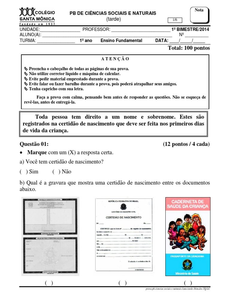 I M Reading Provas Do Colegio Santa Monica On Scribd Avaliacao