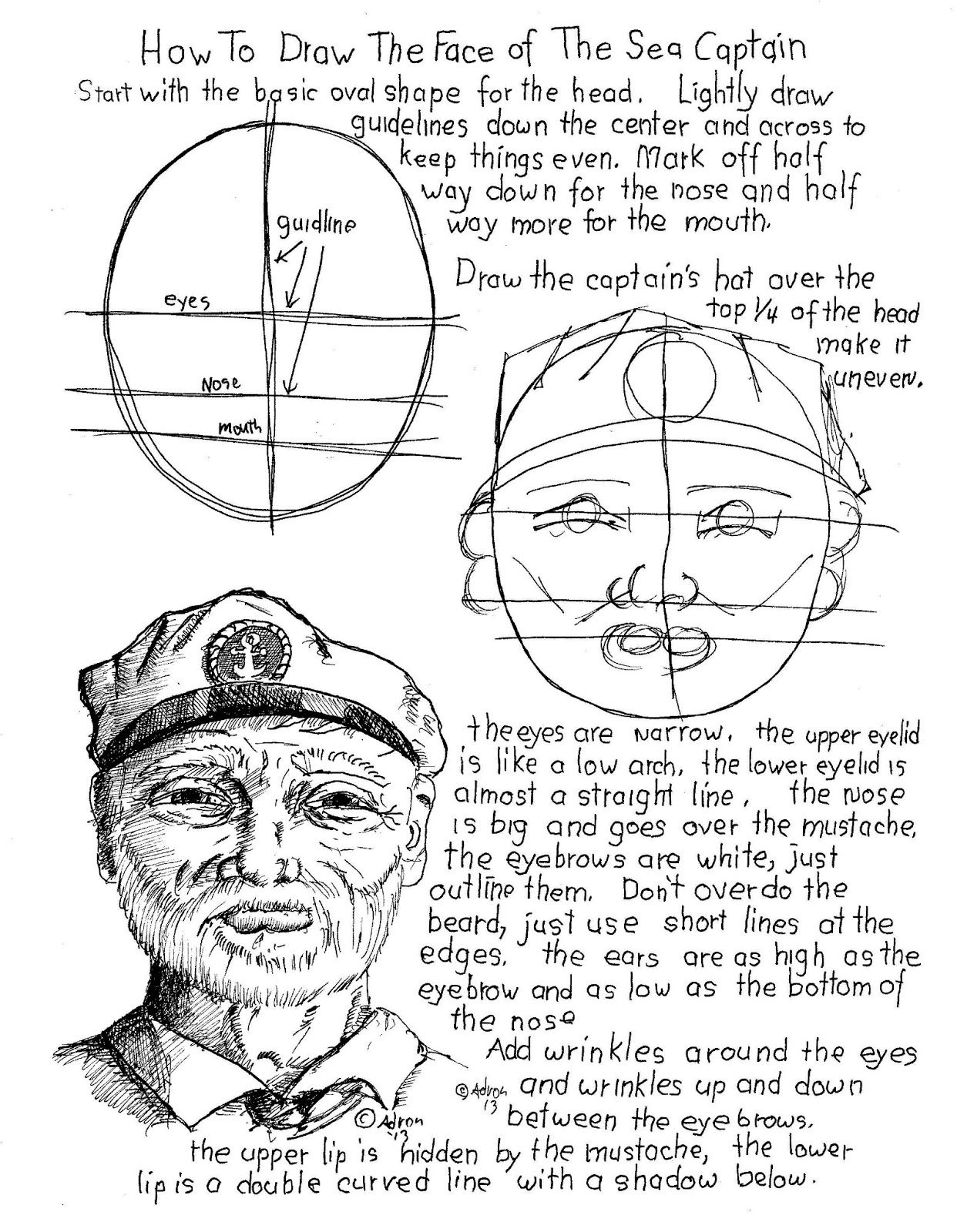 How To Draw The Face Of The Old Sea Captain Printable
