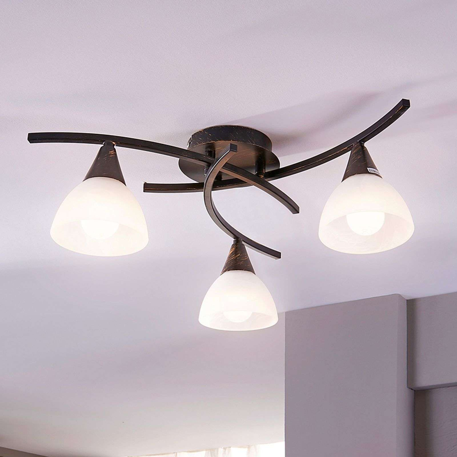 Plafonnier Led A Trois Lampes Della Noir Et Or In 2020 Led Deckenlampen Deckenlampe Lampen