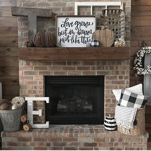 Basket With Pillows S Rustic Fireplace Decor Home Fireplace Farmhouse Fireplace Decor