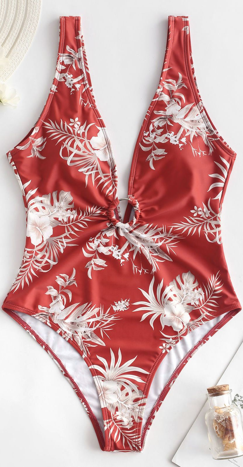 Floral Ring Embellished Plunging Swimsuit Plunge Swimsuit Piece Swimsuit One Piece Swimsuit
