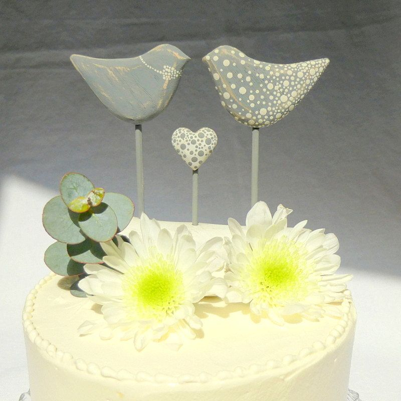 Love Bird Wedding Cake Topper, Grey/ White Polka Dot Wedding, Bird ...