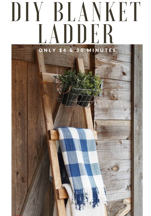 Diy Wooden Blanket Ladder Only 4 In 30 Minutes Beginner Build Wooden Diy Diy Wooden Blanket Ladder