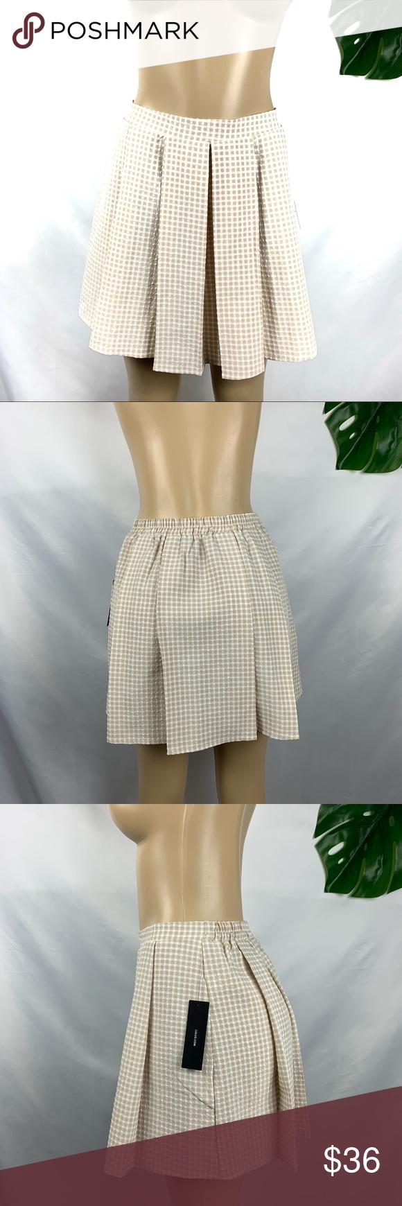 Multi mini skirts size 36 Nwt Lulus Pleated Tan White Multi Plaid Mini Skirt In 2020 Plaid Mini Skirt Mini Skirts Clothes Design
