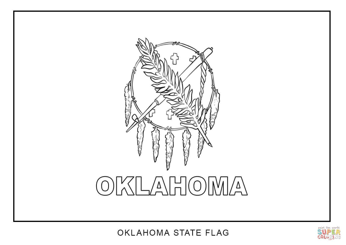 Flag Of Oklahoma Super Coloring Flag Coloring Pages Oklahoma