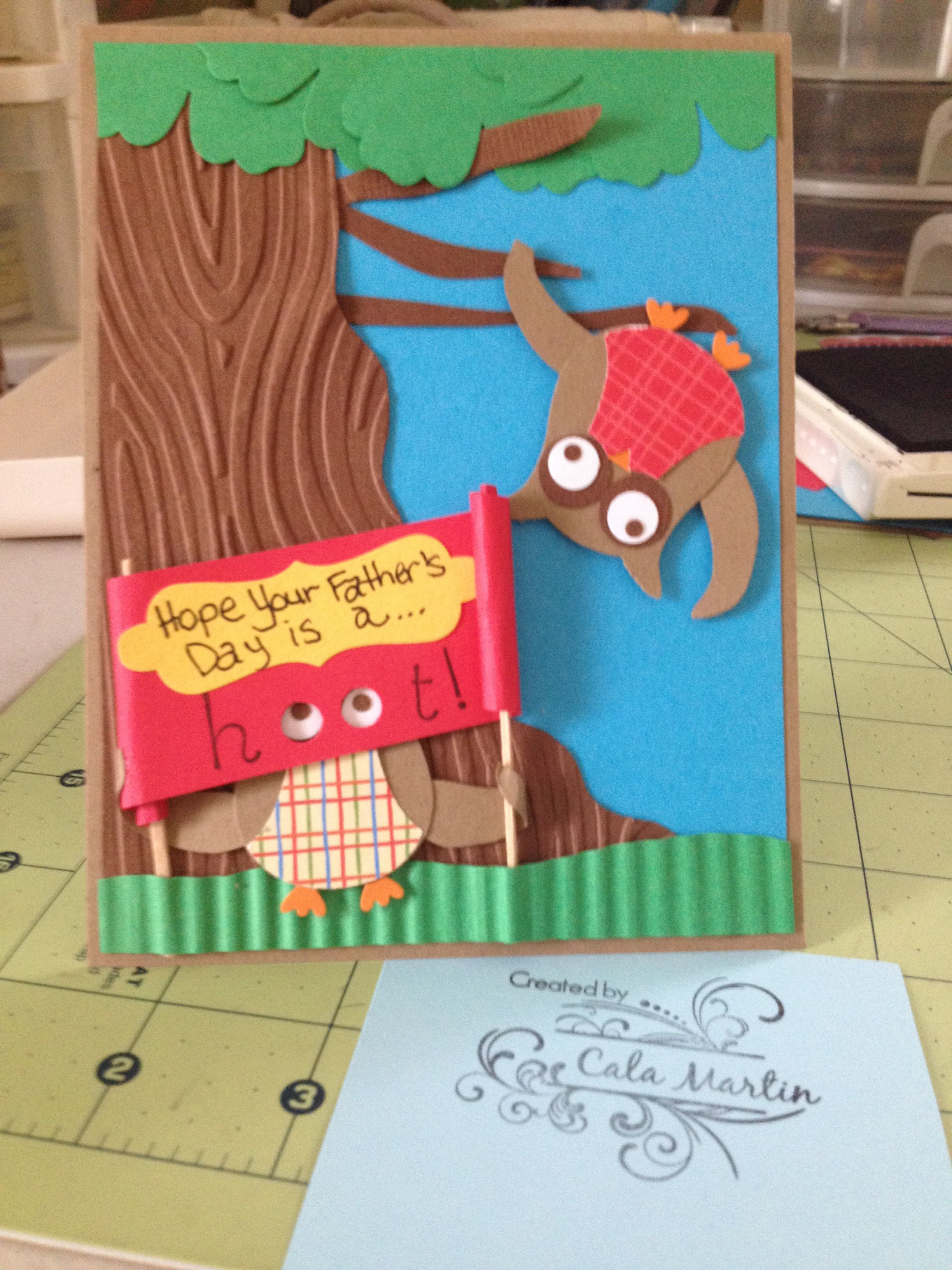 father s day card using su punches owl punch blossom label