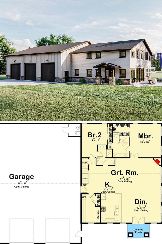 Two Story 4 Bedroom Barndominium with Massive Garage Floor Plan