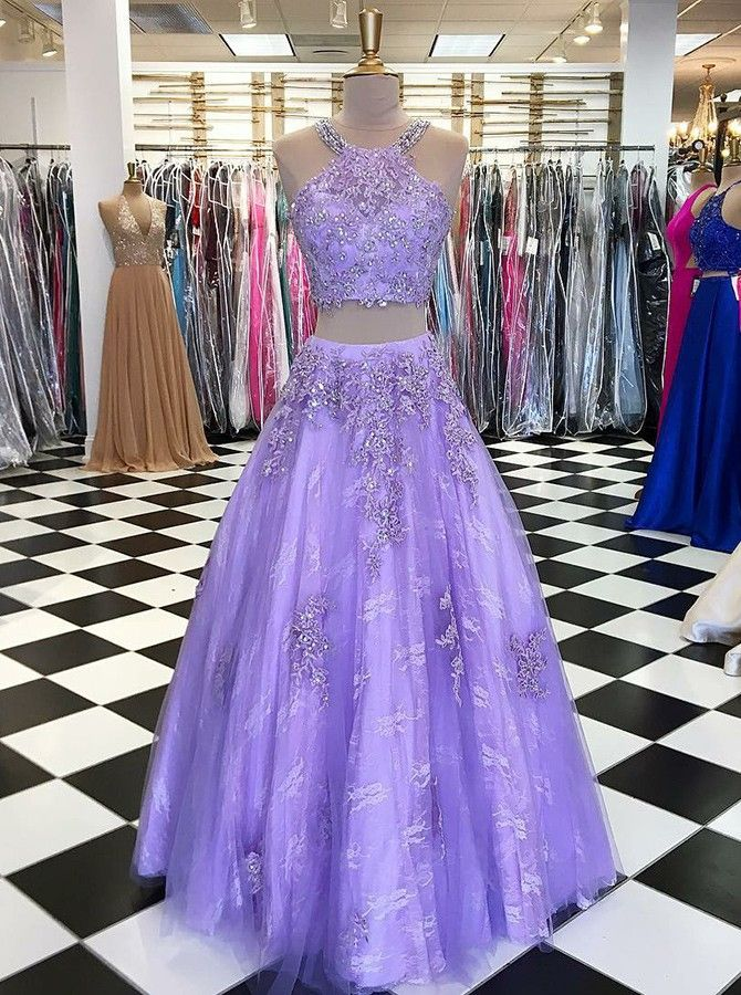 Two Piece Round Neck Lavender Lace Prom Dress with Appliques Beading ...