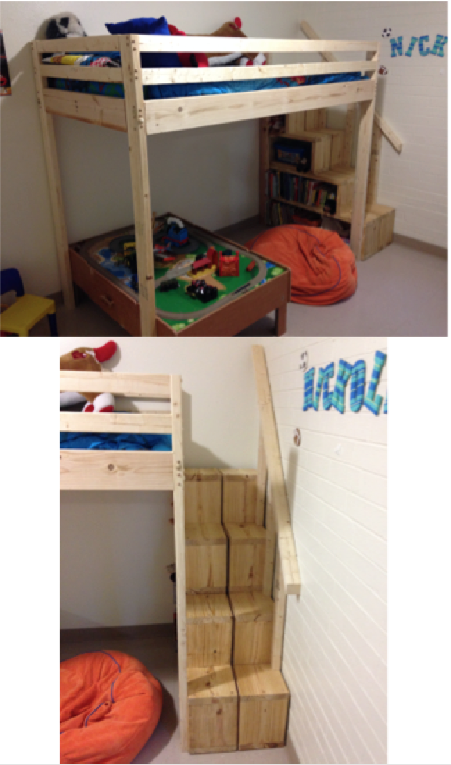 DIY Loft bed with stairs/shelves.