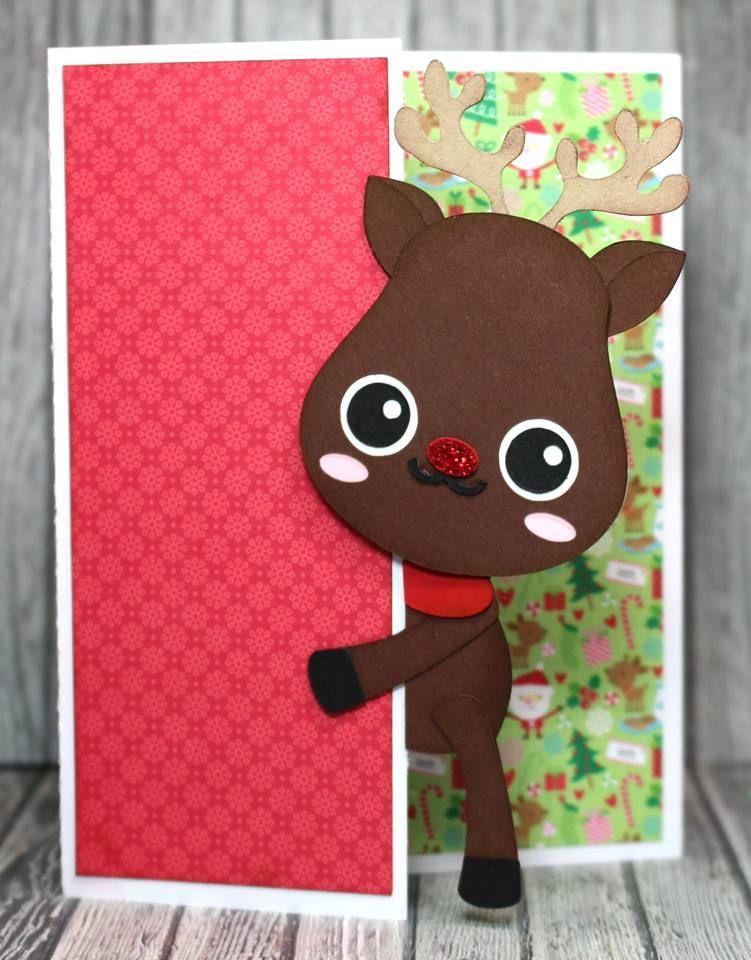 Peeker Reindeer Card Svg files silhouette cameo