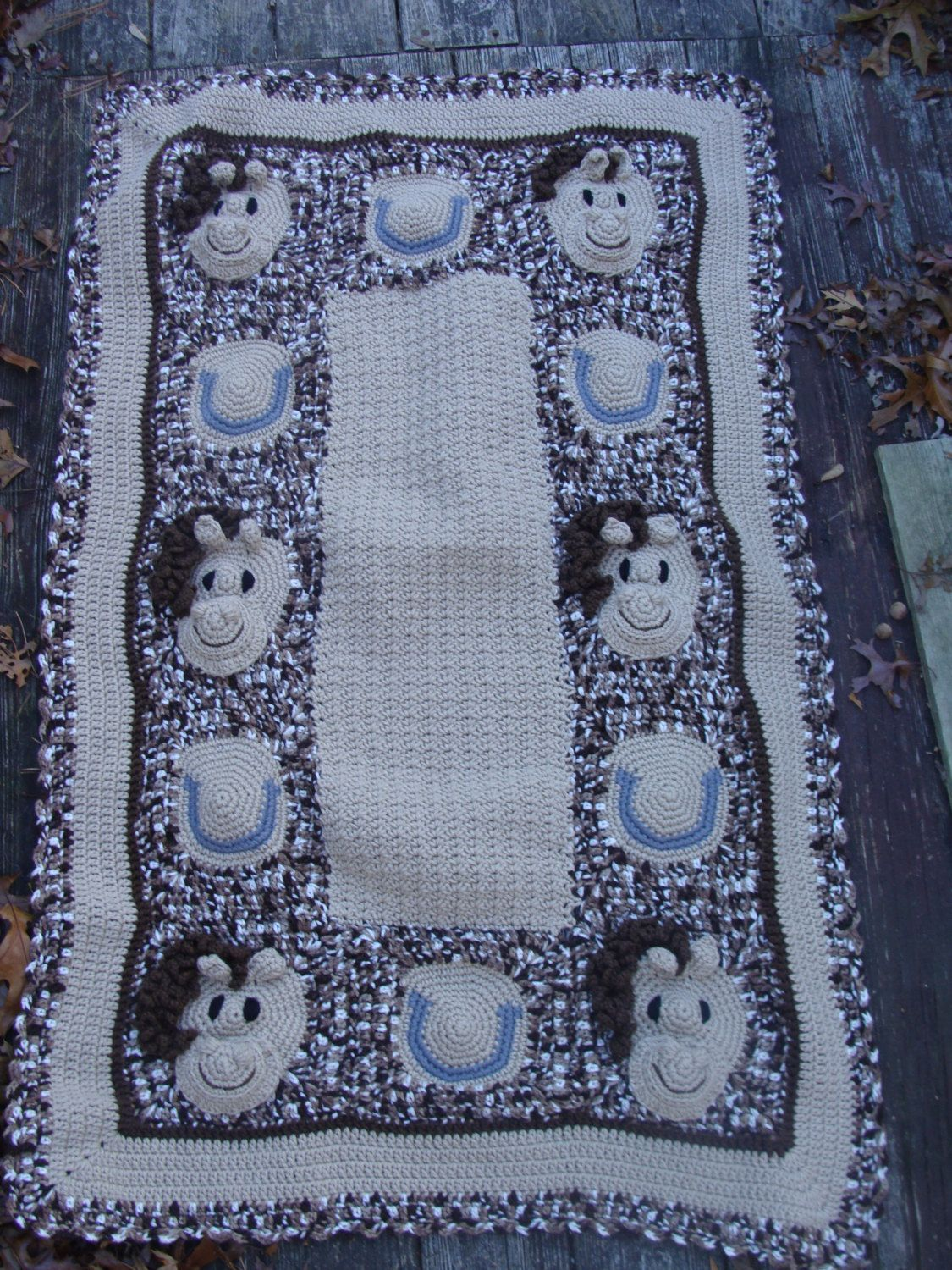Horse Baby Afghan crochet pattern digital pdf 747 by ...