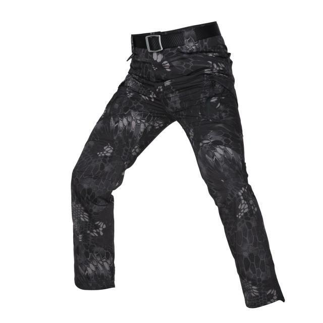 New Mens Tactical Pants Multiple Pocket Elasticity Military Urban Commuter Tacitcal Trousers Men Slim Fat Cargo Pant 5XL - S / Black python / China