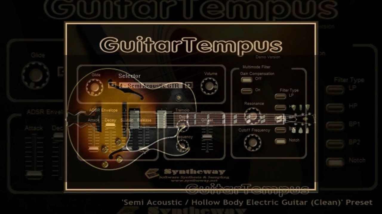 virtual semi acoustic hollow body electric guitar vst win audio unit macos guitartempus. Black Bedroom Furniture Sets. Home Design Ideas