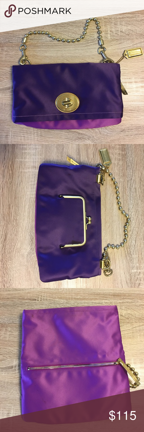 Coach Two Tone Purple Satin Bag with Gold Hardware Coach Two Tone Purple Satin Bag with Gold Hardware - Has some stains Coach Bags Clutches & Wristlets