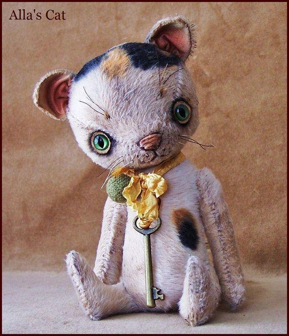 by Alla Bears TINY 7.5 inch Cat original artist ooak by AllaBears