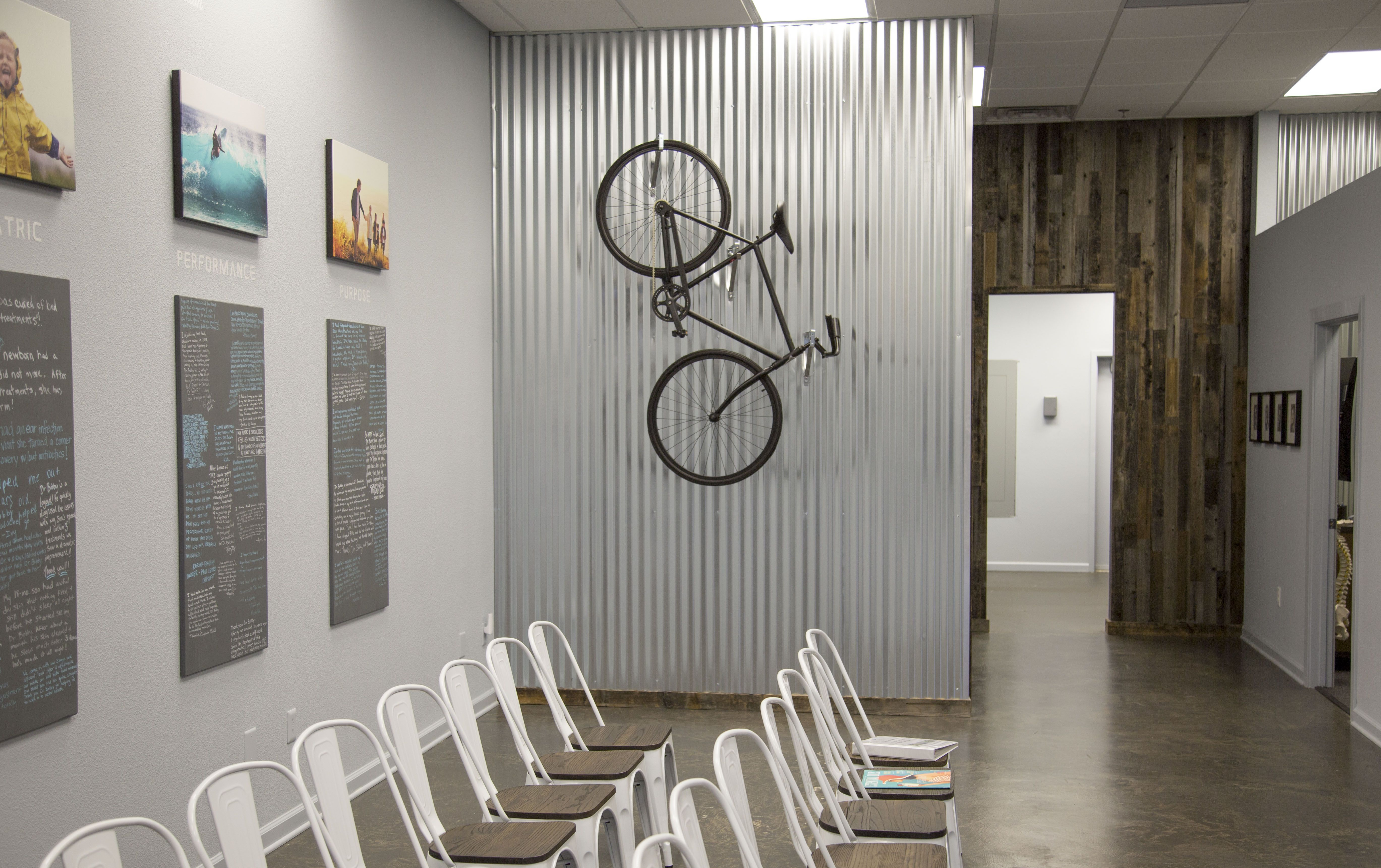 chiropractic office design for chiropractic office. Updated Clinic Photo Showing Bike Mounted On Corrugated Metal Wall. Chiropractic Office DesignChiropractic Design For T